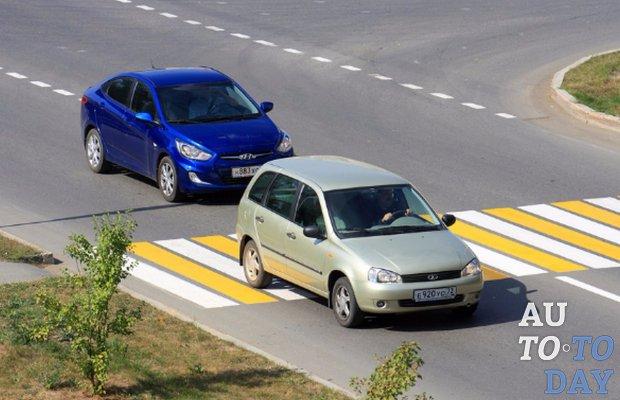 Штраф (лишение прав) при обгоне на пешеходном переходе (статья 12.15 и 12.16 КоАП РФ )