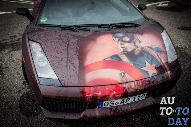 Новое граффити сроднило Lamborghini Gallardo и Капитана Америку