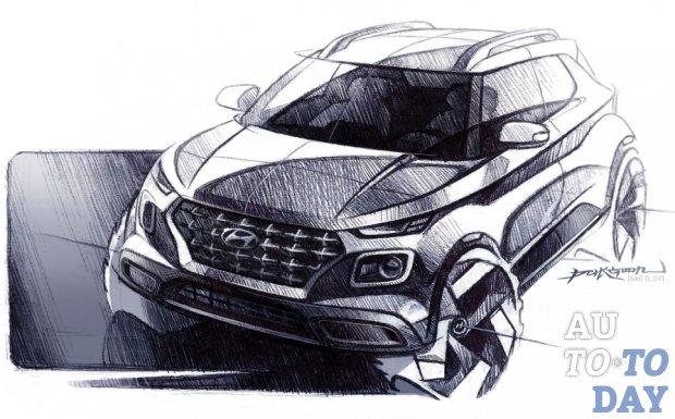 Hyundai выпускает новые эскизы кроссовера Venue