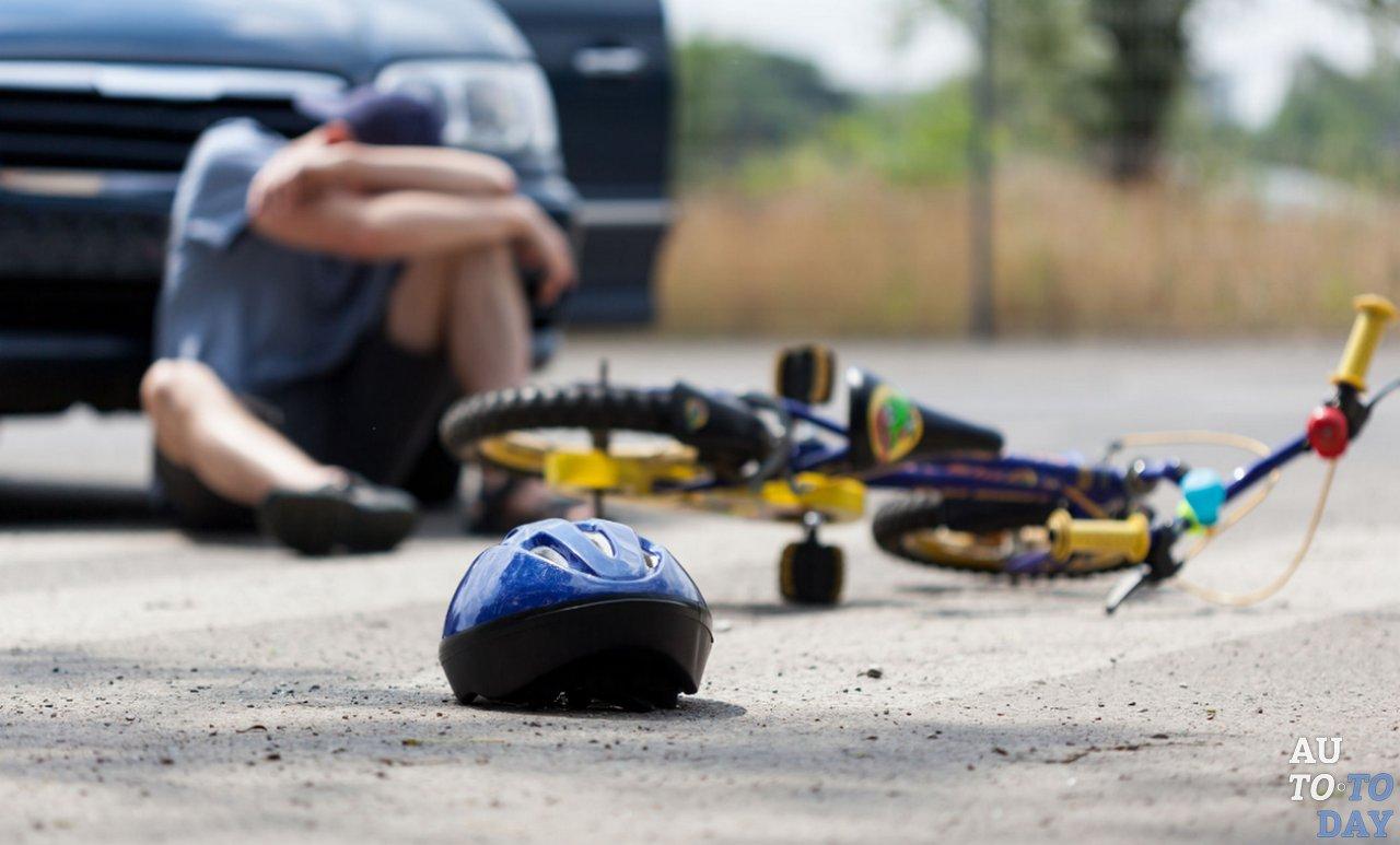 Авария велосипедист и машина
